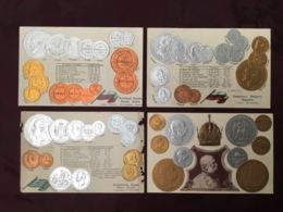 LOT DE 4 CARTES POSTALES MONNAIES.   /89/ - Monedas (representaciones)