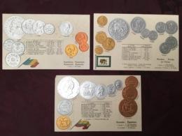 LOT DE 3 CARTES POSTALES MONNAIES.   /90/ - Monedas (representaciones)