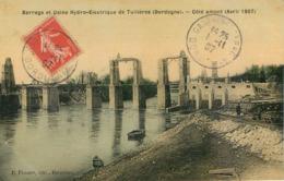 """CPA 24 Dordogne Barrage Et Usine Hydro Electrique De Tuilières Côté Amont Avril 1907 Carte """"Toilée"""" - France"""