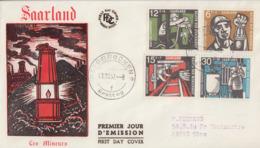 Enveloppe  FDC  1er  Jour  SARRE    Hommage  Aux  Mineurs    1957 - FDC