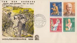 Enveloppe  FDC  1er  Jour    SARRE    Au  Service  De  L' Humanité    1958 - FDC