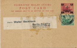 MALAYA / KUALA LUMPUR - 1926 , 4 CENTS  POST CARD To Berlin - Malayan Postal Union