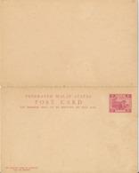 MALAYA   - 1901 , 3c  Reply POST CARD - Malayan Postal Union