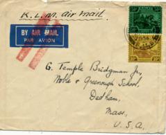 MALAYA   - 1936 , Letter With K.L.M. To Dedham / Miss. / USA - Malayan Postal Union
