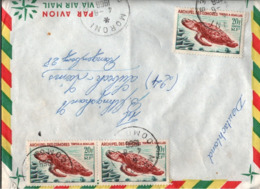 ! 1966 Lettre Moroni, Comores, Tortue, Schildkröte, Mehrfachfrankatur, Komoren - Briefe U. Dokumente