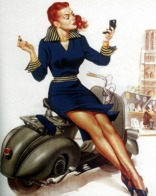 @@@ MAGNET - Vespa, Pin Up Girl - Advertising