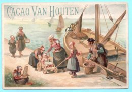 Chromo Grand Format, Victorian Trade Card. Cacao VAN HOUTEN. Scène D'Hollande. Litho TESTU MASSIN 37-20 - Van Houten