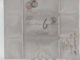 PR7504/ LAC/BMI C.Anvers 23/Nov/1858 C.Henri Lavaut Port 6 > Gênes Italie Verso Divers Cachets & Ambulants C.d'arrivée - Postmark Collection