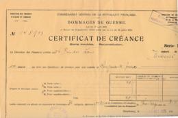 1925 / Attribution Créance De Guerre / Sinistré De Keskastel / Commissaire Général République / Alsace Lorraine - 1914-18