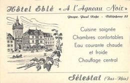 Sélestat - Carte (de Visite/Note) - Hôtel Eblé A L'Agneau Noir - Selestat