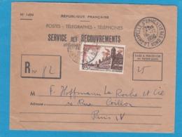 """SERVICE DES RECOUVREMENTS,LETTRE RECOMMANDÉE DE """"LA CHAPELLE D'ARMENTIÈRES"""", TAXE A PERCEVOIR 25 FRANCS. - Frankreich"""