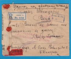 LETTRE,VALEUR DÉCLARÉE,DE RUSSIE POUR LE COMITE BERNOIS DE SECOURS AUX PRISONNIERS DE GUERRE,OUVERTE PAR LA CENSURE ANGL - Militares
