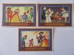 3 Cartons Publicitaires En Couleur Aspirine Du Rhône / Specia - Chat Botté, Au Clair De La Lune, Riquet à La Houppe - Advertising