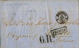 """1858 , MARSEILLE - PUEBLA DEL CARAMIÑAL ( CORUÑA ) , MARCA DE LLEGADA """" FRANCIA """" , PERPIGNAN , JUNQUERA , LUGO , CORUÑA - 1850-68 Kingdom: Isabella II"""