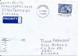 Finland Cover Sent To Bulgaria18-8-2008 Single Franked And Nice Sun Cancel - Finland