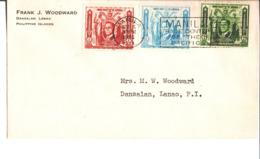 Env Frank J. Woodward Dansalan. Lanao. Philippine Islands. Timbres Manuel L. Quezon. Cachet Manila 1936. - Etats-Unis