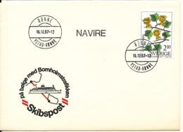 Sweden Cover Ship Mail Ystad - Rönne 16-10-1987 (Pa Bölge Med Bornholmstrafikken) With Cachet - Lettres & Documents