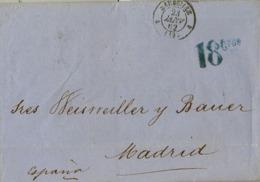 1862 , MARSEILLE / MADRID, PORTEO 18 CTS. , TRÁNSITOS DE BORDEAUX , IRÚN Y LLEGADA A MADRID - 1853-1860 Napoléon III