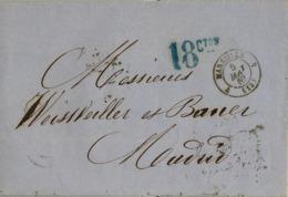 1862 , MARSEILLE / MADRID, PORTEO 18 CTS. , TRÁNSITOS DE BORDEAUX , IRÚN Y LLEGADA A MADRID - Covers & Documents