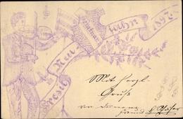 Handgemalt Studentika Entier Postal Cp Glückwunsch Neujahr 1897, Violinenspieler, Seminar I. - Anno Nuovo