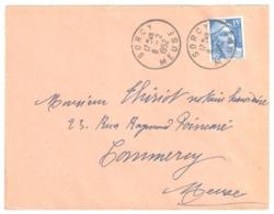 SORCY Meuse Lettre 15 F Gandon Bleu Yv 886 Ob 8 2 1952 - France