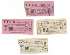 Per Iniziare Una Collezione  Di Biglietti Tram  ATAG Roma. Selezione Di 4 Biglietti Fine Anni 30 Tipografia CASTIGLIONE - Tranvías
