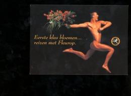 Carte Publicité Fleurop Interflora Nederland Livraison à Domicile Fleurs Homme Nu - Pubblicitari