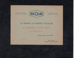 Vin NICOLAS - Extrait Du Prix Courant - DEPOT NICOLAS (JUVISY) - Le Gérant Du Dépot NICOLAS - Pubblicitari