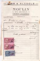 FACTURE 1956 VINS ET ALCOOLS MOULIN  / CROZON FINISTERE / TIMBRE FISCAL - 1950 - ...