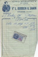 FACTURE 1956 VINS ET SPIRITUEUX EN GROS VEUVE L . DERRIEN ET JAMIN  / CROZON FINISTERE / TIMBRE FISCAL - Francia