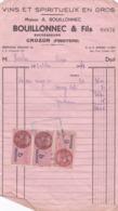 FACTURE 1953 VINS ET SPIRITUEUX EN GROS BOUILLONNEC ET FILS  / CROZON FINISTERE / TIMBRE FISCAL - Francia