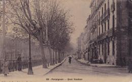 CPA 66 @ PERPIGNAN En 1914 - Quai Vauban - Timbre Semeuse 25 Centimes En 1914 ! - Perpignan