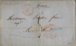 """1854 , MURCIA , CARTAGENA / MARSELLA , MARCA DE SALIDA DE LA JUNQUERA """" ESPAÑA """" , BAEZA , PERPIGNAN , LLEGADA - Spain"""