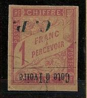 Côte D'Ivoire - 1903 - Colis Postaux CP N°Yv. 15a - 1f Rose Sur Paille - Variété Surcharge Renversée - Oblitéré / Used - Ivory Coast (1892-1944)