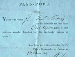 PASS-PORT ARMÉE AUTRICHIENNE BOURGOGNE BEAUNE 1814 PASSEPORT MILITAIRE GUERRE NAPOLEON OSTERREICH PLATZ-COMMANDO - Documents Historiques