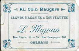 """D45 - ORLEANS - CARTE PUBLICITAIRE """"AU COIN MAUGARS""""  L. MIGNAN - Au Recto :Fillettes Dans Un Fauteuil - Orleans"""