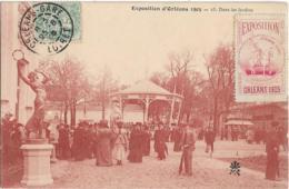 D45 - ORLEANS -EXPOSITION D'ORLEANS 1905 - DANS LES JARDINS -timbre Exposition Orléans 1905-Nombreuses Personnes-Kiosque - Orleans