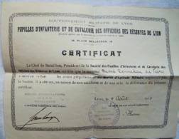 Db02 Certificat Pupilles D'infanterie Et De Cavalerie Des Officiers Des Reserves De Lyon, 1914 22,3 X 18 Cm - 1914-18