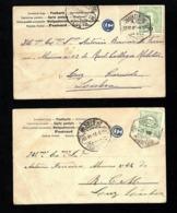 """Conjunto 2 Postais Com CARIMBO """"C"""" Em Azul. Selo Mouchon D.Carlos 1905 - Marcophilie"""