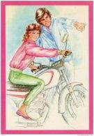 Jeune Fille Sur Moto Motorbike - Collection Annie Italia - Motorbikes