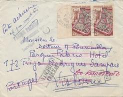 """1954 Lettre AVION > PORTUGAL - RETOUR Parque Palacio HOTEL + """" PARTI AUSENTE """" - 25f Tapisseries Métiers D'art - 1921-1960: Moderne"""