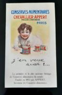 CHEVALLIER APPERT CONSERVES ALIMENTAIRES 1918  A. DELAYE ILLUSTRATEUR PARIS PUBLICITE ANCIENNE ANTIQUE AD FOOD CAN - Pubblicitari