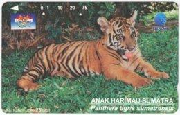 INDONESIA A-387 Magnetic Telekom - Animal, Cat, Tiger - Used - Indonesien
