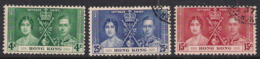 Hong Kong 1937 KGV1 Set Coronation Used SG 137 - 139 ( 1468 ) - Hong Kong (...-1997)