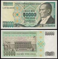 Türkei - Turkey 50000 Lira Banknote 1970 (1989) Pick 203 UNC ATATÜRK (15784 - Turchia