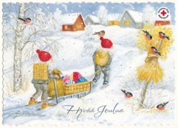 Postal Stationery - Birds - Bullfinches - Elves Bringing Presents - Red Cross 2019 - Suomi Finland - Postage Paid - Finland