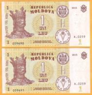 2015  Moldova  Moldavie  Moldau UNC  1 LEI   Two Banknotes. One Series. - Moldavië