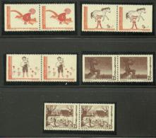 Sweden 1969 Astrid Lindgren, Pippi, Nils Holgerson, Vill-Vallareman, Kattresan, 661-665 In 5 Pairs, MNH - Sweden