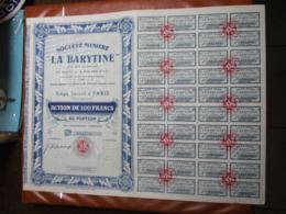 Actions - Société Minière La Barytine à Paris (75) - 25 Octobre 1925 - Action Au Porteur - Bergbau