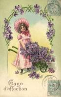 Illustrateur Fillette Avec Une Brouette De Violettes Gage D'affection Gauffrée RV Beau Cachet Montrozier Aveyron - Tarjetas De Fantasía